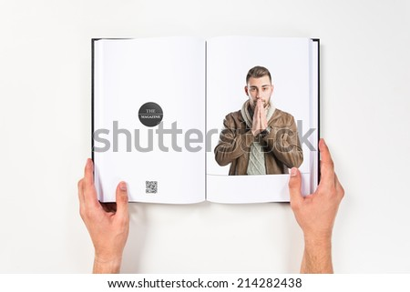 Handsome man pleading over isolated white background  - stock photo