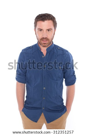Handsome man posing,isolated on white