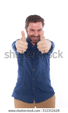 Handsome man posing,isolated on white - stock photo