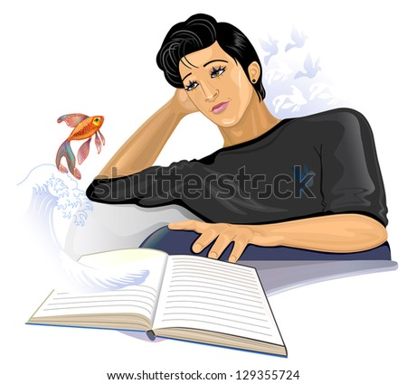Handsome man reading a book and dreaming. Illustration  isolated on white background. - stock photo