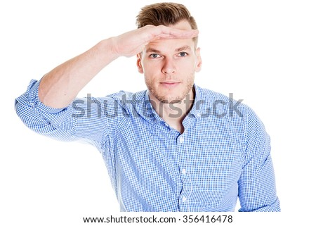 Handsome man showing something - stock photo