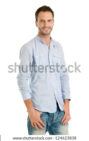 Handsome Man Standing Casually Dressed Against White Background - stock photo