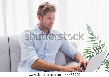 Handsome man using a laptop on the couch in the living room - stock photo