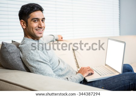 Handsome man using laptop on sofa in living room - stock photo