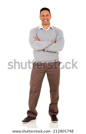 handsome man with arms crossed isolated on white  - stock photo