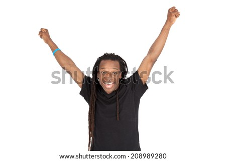 Handsome man with dreadlocks doing different expressions in different sets of clothes: arms raised - stock photo