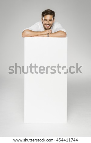 Handsome man with empty space for advert