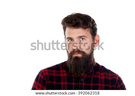 Handsome man with long beard wearing checkered shirt isolated on white