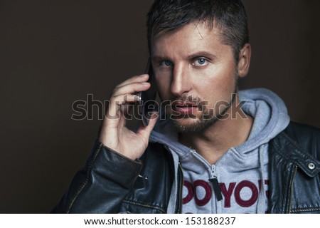 Handsome man with phone