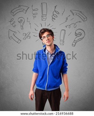 Handsome man with question sign doodles on gradient background - stock photo
