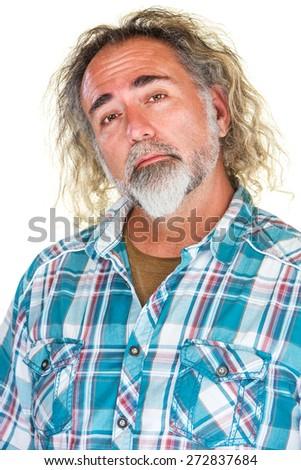 Handsome mature man with beard and long hair - stock photo