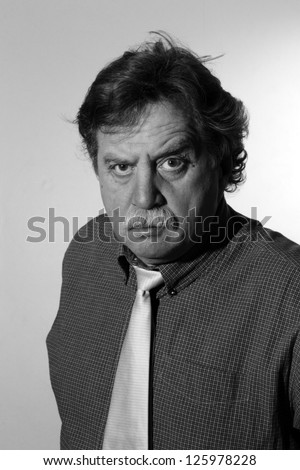 Handsome middle age business man, black and white - stock photo