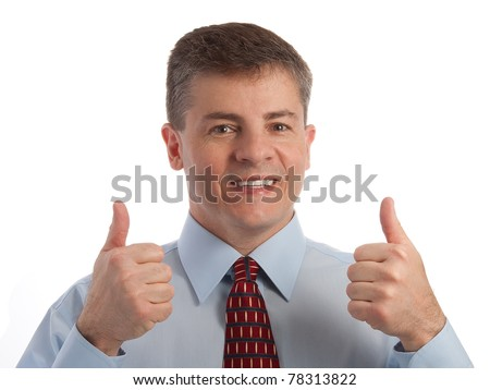 Handsome middle age successful businessman gives two thumbs up - stock photo