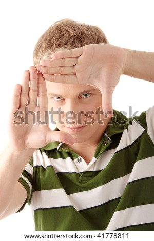 Handsome model framing his face on an isolated white background - stock photo