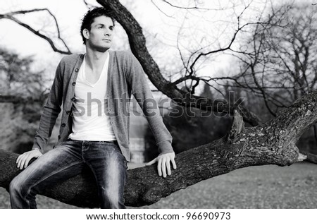 Handsome model sitting on tree branch