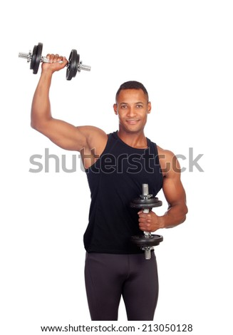 Handsome muscled man training isolated on a white background - stock photo