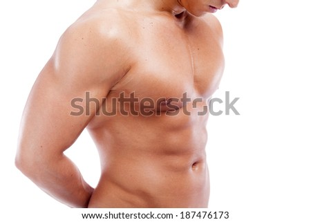 Handsome muscular guy on white background