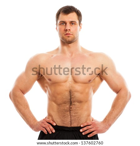Handsome muscular guy with naked torso isolater over a white background