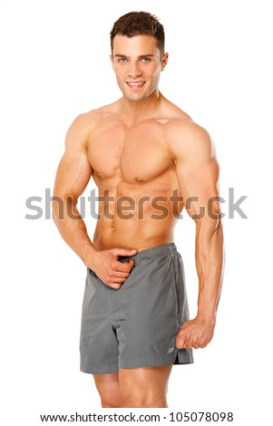 Handsome muscular man isolated on white background