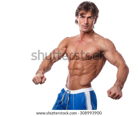 Handsome muscular man over white background - stock photo