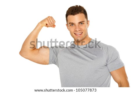 Handsome muscular young man isolated on white background