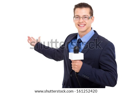 handsome news journalist reporting isolated on white - stock photo