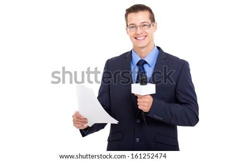 handsome newsreader reading the news over white background - stock photo