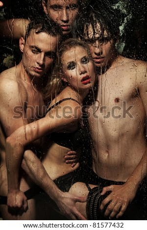 Handsome nude people - stock photo