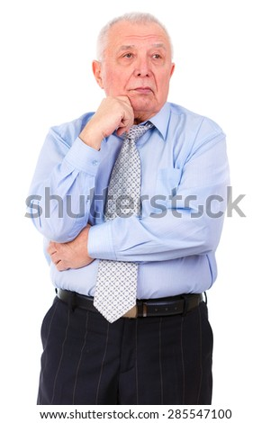 Handsome old senior businessman in tie and shirt, Thinking, isolated on white background. human emotion, facial expression - stock photo