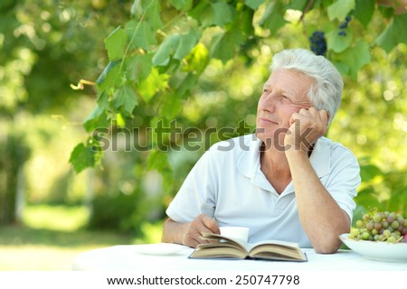 Handsome older man sitting at a table at home on the veranda with book - stock photo