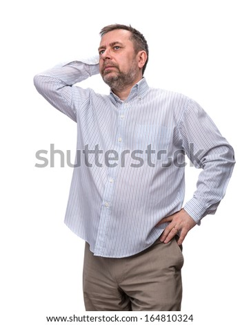 Handsome positive middle-aged business man standing and thinking, isolated over white background. - stock photo