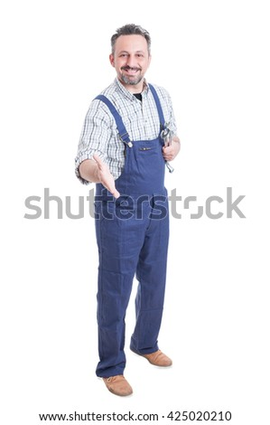 Handsome repairman or mechanic ready to handshake as greeting or welcoming concept isolated on white background - stock photo