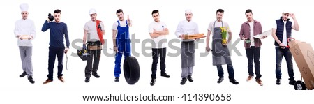handsome same young man doing various jobs in different professional outfit - stock photo