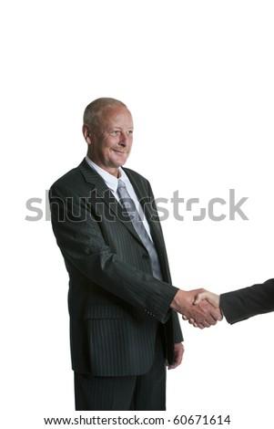 Handsome senior businessman shaking hands - stock photo