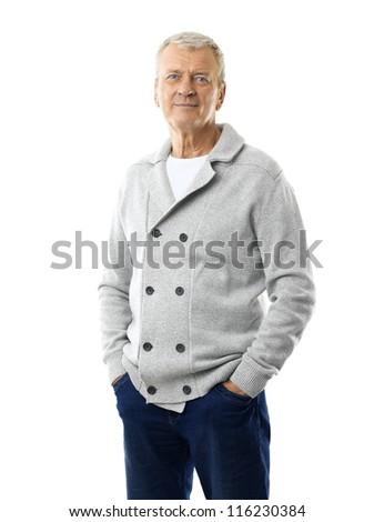 Handsome senior man standing against white background - stock photo