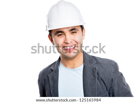 Handsome smiling builder. Isolated over white background - stock photo