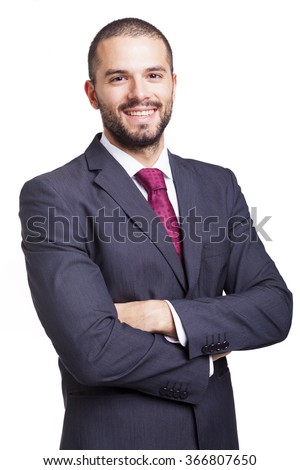 Handsome smiling business man isolated on a white background
