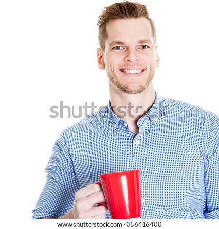 Handsome Smiling Businessman Holding Red Cup Isolated On White Background - stock photo