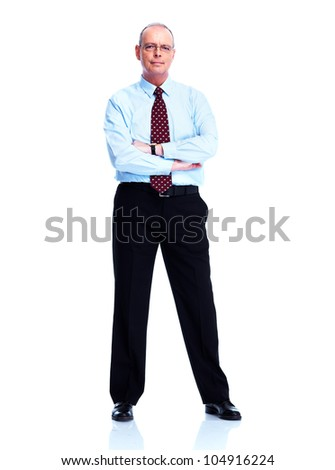 Handsome smiling businessman. Isolated on white background. - stock photo