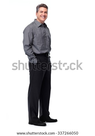 Handsome smiling businessman. Isolated over white background.  - stock photo