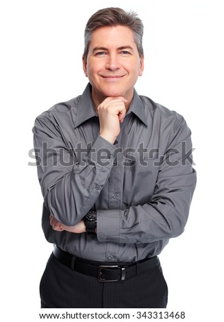 Handsome smiling businessman. Isolated over white background.