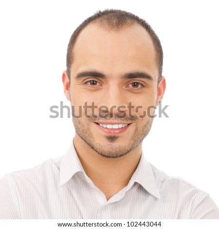 Handsome smiling man. Isolated over white background. - stock photo