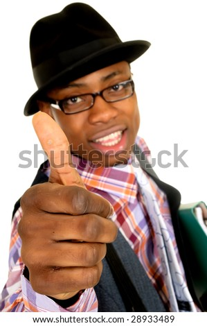 Handsome successful joyful African American black businessman, studio shot, white background, shallow dof - stock photo