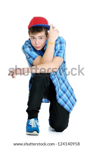 handsome teenager looking at the camera. isolated on white - stock photo