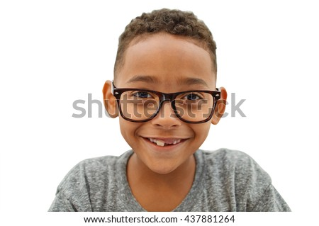 Handsome Toothless Student Wearing Eyeglasses smiling looking at camera Close Up isolated on white background