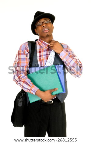 Handsome troubled African American black businessman, studio shot, white background - stock photo