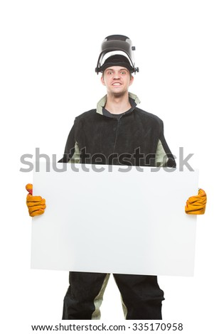 handsome welder holding a blank form. isolated on white background - stock photo