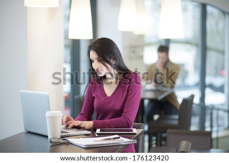 handsome woman using a laptop in a cafe - stock photo