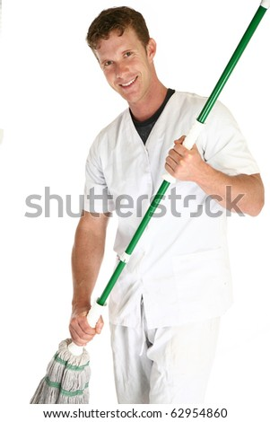 Handsome 35 year old janitor with mop over white. - stock photo
