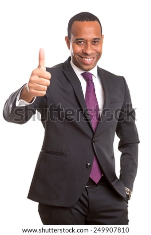 Handsome young african business man signaling ok, isolated over white - stock photo